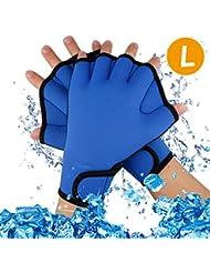 A-szcxtop buceo Webbed Guantes Ejercicio acuático agua resistencia nadar guantes sin dedos natación Mano Tejido para el entrenamiento de natación, medium
