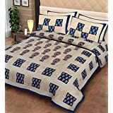 "Fecom Super King Size Rajasthani Jaipuri Traditional Sanganeri Design 100% Cotton Double bedsheet, Bedspread, Bed Cover with Pillow Covers 100X102"" (Blue)"""