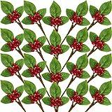 Set di 20 Natale Rosso Bacca Gambo Ramoscello con Foglie Verdi Fiori Artificiali Inverno Bacche Mazzo Finte Mirtilli Grappolo