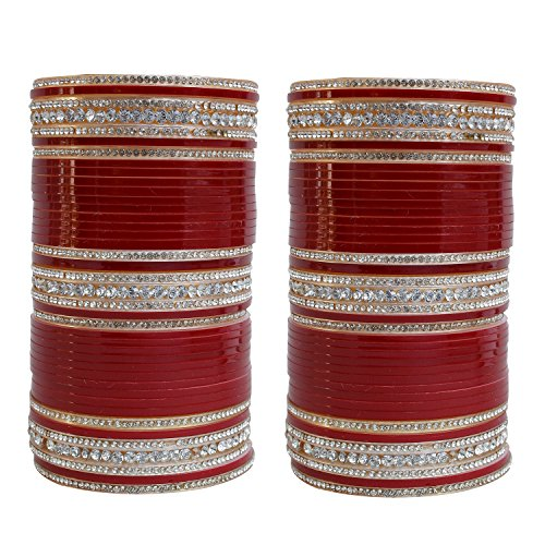 Lucky Jewellery Maroon Bridal Punjabi Choora, Wedding Chura Set