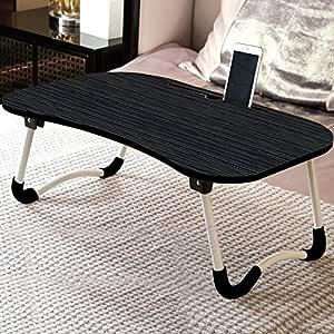 TARKAN Foldable Wooden Laptop Desk for Bed (Walnut Black)