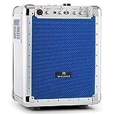 Malone Streetrocker DJ Karaoke Anlage mobile Party Lautsprecherbox mit Trolley-Griff, Bodenrollen und Stativ-Flansch (USB, SD, AUX, Bluetooth, XLR-Mikrofoneingang, netz-und Akku-Betrieb) blau