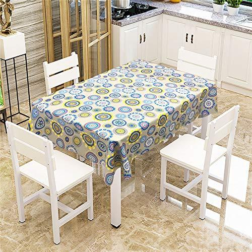 QWEASDZX Tischdecke Polyester Mandalas Ölbeständig und wasserabweisend Mehrweg-Tischdecken rechteckiger Tisch Geeignet für Picknick-Tischdecken im Innen- und Außenbereich 150x150cm