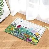 gohebe Watercolor Sommer Floral Decor tropischen Blumen in Palm Blätter mit Schmetterling Bad Teppiche rutschhemmend Fußmatte Boden Eingänge Innen vorne Fußmatte Kinder Badematte 39,9x 59,9cm Badezimmer Zubehör