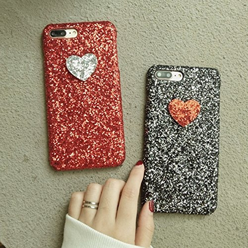 GHC Cases & Covers, Für iPhone 7 Plus Herzform Glitter Powder Hard Schutzmaßnahmen zurück Fall Fall ( Color : Black ) Black