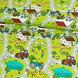 Baumwolljersey Trecker mit Straßenmuster Kinderstoffe Bauernhof - Preis gilt für 0,5 Meter -