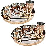 Skavij 20-teilig Edelstahl Kupfer Geschirrset braun gold große Teller Thali mit Tassen Schalen Löffel Abendessen Gabel und Messer Service Set Geschirr für 2