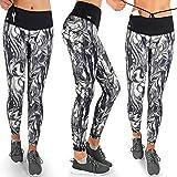 Formbelt Damen Sport-Leggings schwarz weiß mit Tasche lang - Sport-Hose Leggins hüfttasche für Smartphone iPhone Handy Schlüssel (Cream L)