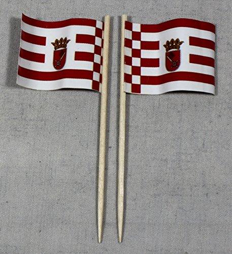 Party-Picker Flagge Bremen Papierfähnchen in Profiqualität 50 Stück 8 cm Offsetdruck Riesenauswahl aus eigener Herstellung
