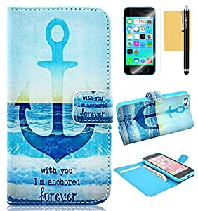 5C Case, iPhone 5C Case, GoodPro Popular Fashion [Personal Stlye Design] (Pattern B), Premium PU Leather Wallet Case Flip Cover with Card Holder for Apple iPhone 5C, Included (Screen Protector, Stylus and Cleaning Cloth), Apple iPhone 5C Case