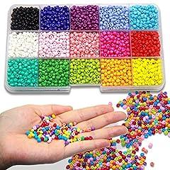 Idea Regalo - Ewparts 3mm Mini Glass Beads for Children DIY Bracelet Art & Jewellery-Making , Bead String Making Set , Fadeless Color (Full color)