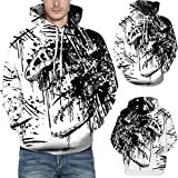 Lässige Herbst Winter 3D Printing Langarm Hoodies Sweatshirt Bluse- Sweatjacke Pullover Langarmshirts -Pulli T-Shirt -Kapuzenpullover Outdoorbekleidung Oberteile -Langarm Blusen(Weiß,S/M)
