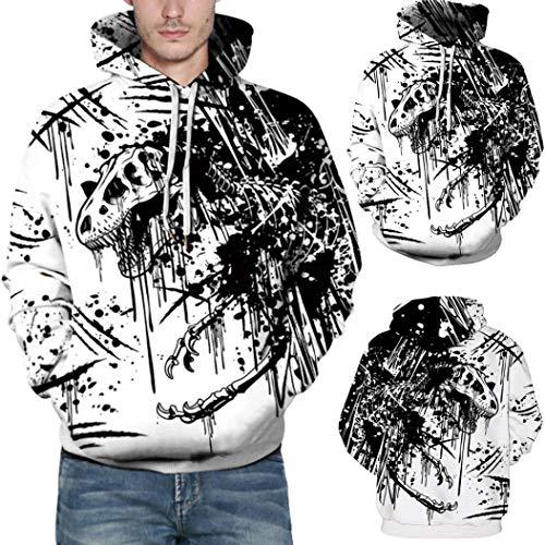 (Lässige Herbst Winter 3D Printing Langarm Hoodies Sweatshirt Bluse- Sweatjacke Pullover Langarmshirts -Pulli T-Shirt -Kapuzenpullover Outdoorbekleidung Oberteile -Langarm Blusen(Weiß,S/M))