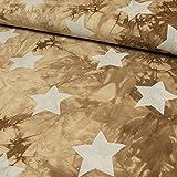 Jersey Stoff Viskose Batik Sterne beige - Preis gilt für