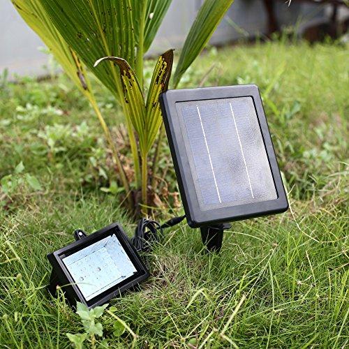 MVpower Bombilla Lámpara Panel Luz Solar 30 LEDs Sensor Luz Blanco Iluminación Ultra Brillante para Jardín Patio PiscinaPorche