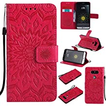 Coque LG G5 Wanxida Housse Retro du Motif en Relief de Tournesol Étui Doux en Cuir PU Wallet Case Étui Portefeuille avec Fente pour Carte et Fermeture Magnétique Coque Style de Livre Étui Folio Mince Coque de Protection Housse Fonction Support pour LG G5-Rouge