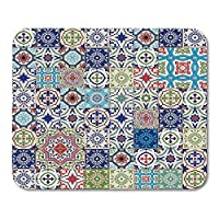 Yanteng Mouse Pads Mouse Pads Mega Gorgeous Patchwork Pattern From Colorful Moroccan Portuguese Tiles Azulejo Ornaments Fills Mouse pad For Notebooks,Desktop Computers Mini Office Supplies Mouse Mats