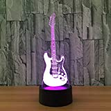 Leisurely Lazy Electric Guitar 3D Optical Illusion Lamp 7 Colors Change and 15 Keys Remote Control LED Night Light Perfect Gifts Toys