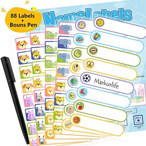 Markurlife Babyflasche Etiketten für Kindertagesstätte oder Schule, spülmaschinenfest, mikrowellenfest 144 Etiketten mit Stift