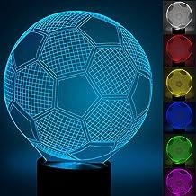 Fútbol 3d óptico Illusions Lámparas, fzai la 7Cambio de color acrílico Tocar Tabla de escritorio Luz nocturna con 150cm USB de cable para niños Dormitorio Regalos de Navidad, Cumpleaños