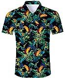 TUONROAD Freizeithemd Papagei Drucken Herren Slim Fit Hemd Kurzarm Vintage Männer Sommer Freizeit Kleidung Shirt