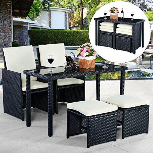 5tlg Gartenmöbel Polyrattan Lounge Set Esstisch Set Rattanmöbel Gartensitzgruppe Essgruppe Gartengarnitur Gartenset Tisch Stühlen Hocker Garnitur inkl. Kissen - 3
