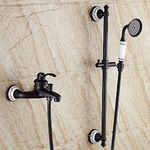 SADASD Bagno moderno rubinetto completo nero rame Bagno Doccia tripla vasca lavello rubinetto miscelatore dello stelo ceramica unico foro maniglia