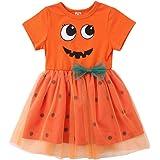 Vestido Infantil de Tul de Halloween para Niña Mangas Cortas con Pajarita en Tamaño de Tema de Calabaza (6 Meses - 5 Años)