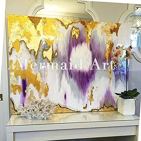 Haute qualité peint à la main d'origine abstraite moderne Art contemporain Peinture Doré Violet Blanc Mark Décoration murale Texture illustrations, 28x36inch(70x90cm)