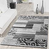 Alfombra económica con diseño moderno para el salón, color gris y crema, polipropileno, 160 x 220...