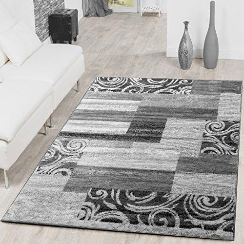 Tappeto moderno con design patchwork, per soggiorno, grigio - crema, polipropilene, 120 x 170 cm