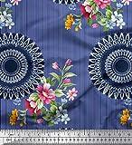 Soimoi Blau Satin Seide Stoff Streifen, Blumen & Mandala