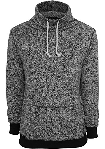 Melange High Neck Knitted Crew gry/blk S