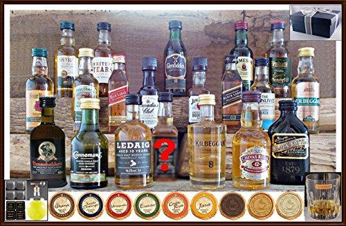 20 Whisky Miniaturen 20 DreiMeister Edel Schokoladen, 4 Untersetzer, 4 Kühlsteine, Flaschenportionierer, Ice Ball & Glas im Geschenk Karton, kostenloser Versand