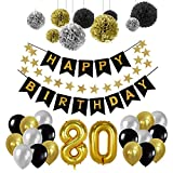 Yoart Geburtstag Dekorationen 80., Geburtstag Party Supplies Sets Happy Banner Bunting, 9pcs Seidenpapier Pom Poms Hängende Swirl Decor 30pcs Latex Party Ballons in Schwarz Gold Silber