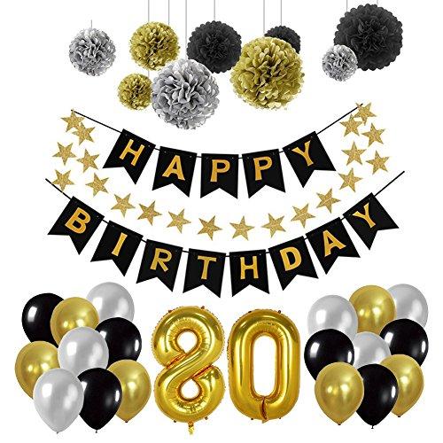 Yoart Geburtstag Dekorationen 80., Geburtstag Party Supplies Sets Happy Banner Bunting, 9pcs Seidenpapier Pom Poms Hängende Swirl Decor 30pcs Latex Party Ballons in Schwarz Gold Silber