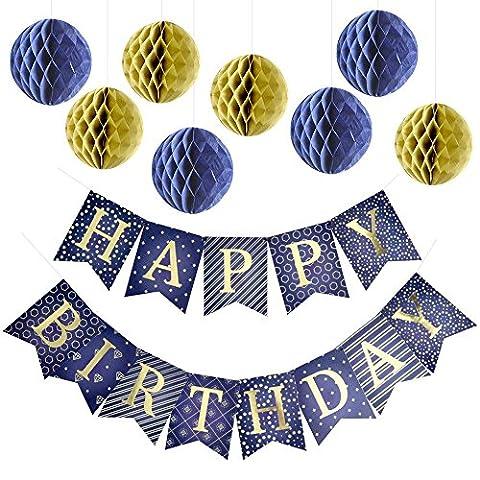 Happy Birthday Banner Girlande Party Dekorationen mit 8 Wabenbällen aus Seidenpapier – Erstklassiges blaues Wimpel-Banner mit glänzenden Goldbuchstaben – Partybedarf – Wunderschöne Geburtstagsdekoration für Kinder und Erwachsene