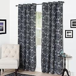 Lavish Home Flocked Curtain Panel, 84