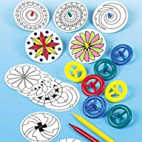 Baker Ross Colour-in Spinning Tops For Children to Decorate And Play with (Pack of 12)