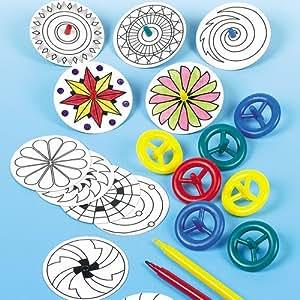 Baker Ross Lot de 12 Toupies à colorier - Idéal pour les jeux plein air