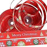BUONDAC 44m / 2 Muster Weihnachtsbänder Ripsband Satinband Schleifenband Dekoband Band für Weihnachten Bänder Geschenkband Stoffband zum nähen Weihnachtsband (Rot, Breite: ca. 1 cm)