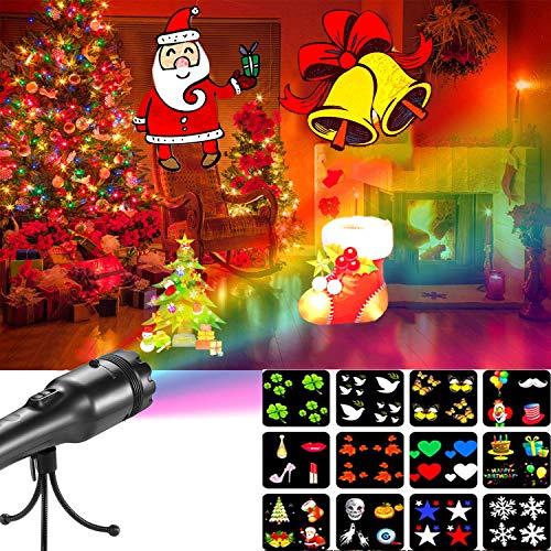 ABRRLO Außen Weihnachten Projektor LED Projektionslampe Taschenlampe mit 12 Switchable Muster Projektor für Halloween Weihnachtsdeko Geburtstag Party (Einem Mit An Halloween Geburtstag)