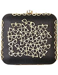 VA BY VANSHIKA AHUJA Women's Clutch (Black and Gold, VAN-3008)