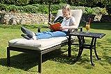 Hanseatisches Im- & Export Contor GmbH Aluguss Gartenliege, Deckchair, Liege, Liegestuhl, Gartenbett, Sonnenliege auf Rädern (1 Liegen + Beistelltisch)