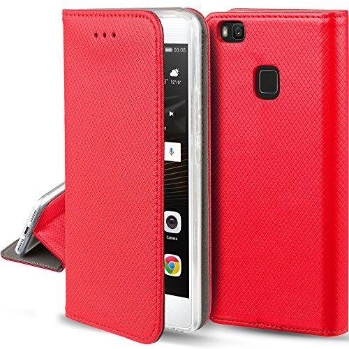 Moozy Hülle Flip Case für Huawei P9 Lite, Rot - Dünne Magnetische Klapphülle Handyhülle mit Standfunktion