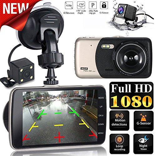 Altsommer 4,0 Zoll IPS HD Autokamera FHD 1080P Kamera,WiFi mit 170 ° Weitwinkelobjektiv,Multi Sprachen,Auto Kamera mit Picture in Picture, Rückfahrkamera,Bewegungserkennung (A)