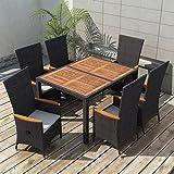 WEILANDEAL Gartenmöbel 13 Teilig Schwarz Poly Ratan Holz Akazie XXL Set aus Edelstahl Material Kissen: Polyster Bezug mit Schaumfüllung