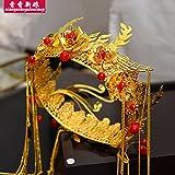 XPY&DGX Bridal Hochzeit Ballsaal Haarnadel Haarschmuck,Chinesische Hochzeit Show Kleid Kopfschmuck Runde Gold Quaste Kostüm Braut Haarschmuck Anzug Palast Hochzeit Phoenix Krone