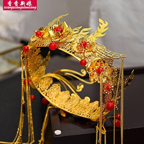 XPY&DGX Bridal Hochzeit Ballsaal Haarnadel Haarschmuck,Chinesische Hochzeit Show Kleid Kopfschmuck Runde Gold Quaste Kostüm Braut Haarschmuck Anzug Palast Hochzeit Phoenix ()