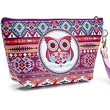 HOYOFO búho make Up bolsa impermeable bolsa de cosméticos neceser de viaje con asa para las mujeres